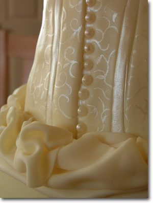 Ivory Corset Wedding Cake, detail