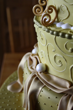 close-up of side of gold cake